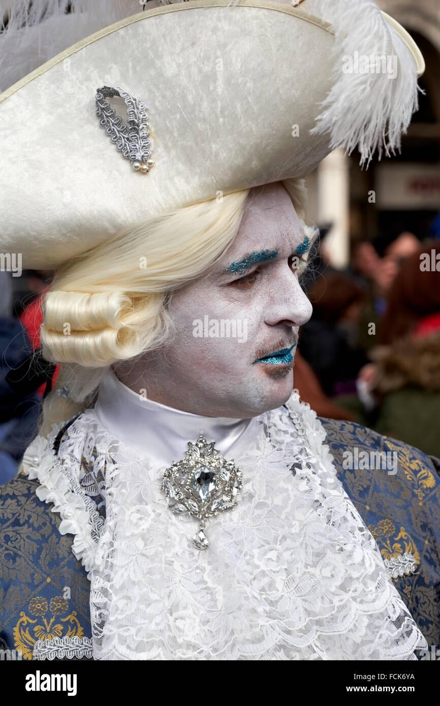 L'homme déguisé, Carnaval de Venise, Venise, Italie Photo Stock