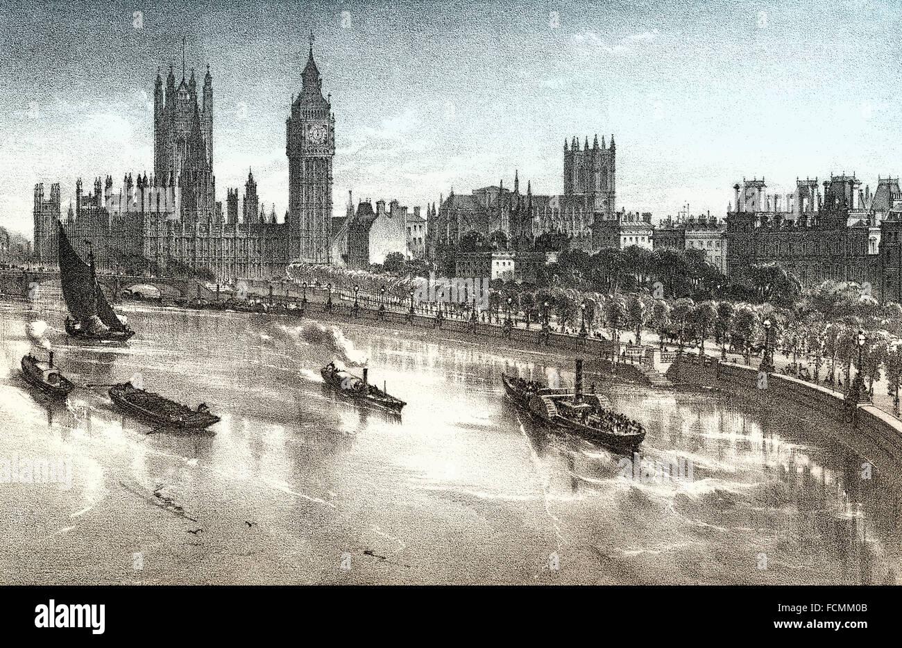 La Thames Embankment, 19e siècle, la Tamise dans le centre de Londres, Angleterre Photo Stock