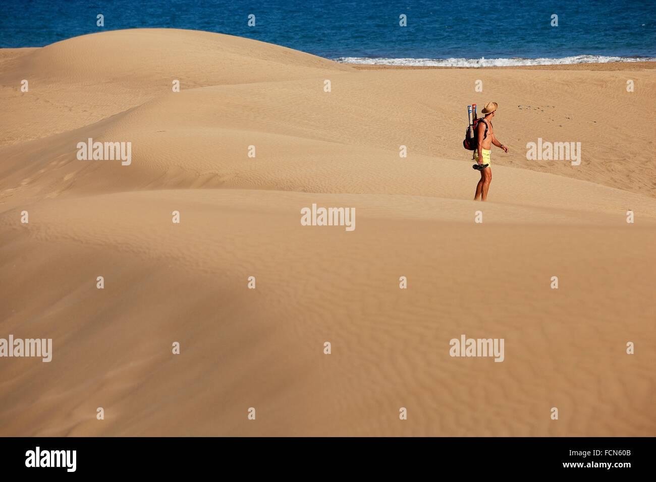 Au Tourisme Les Dunes De Sable Maspalomas Gran Canaria Iles Canaries Espagne