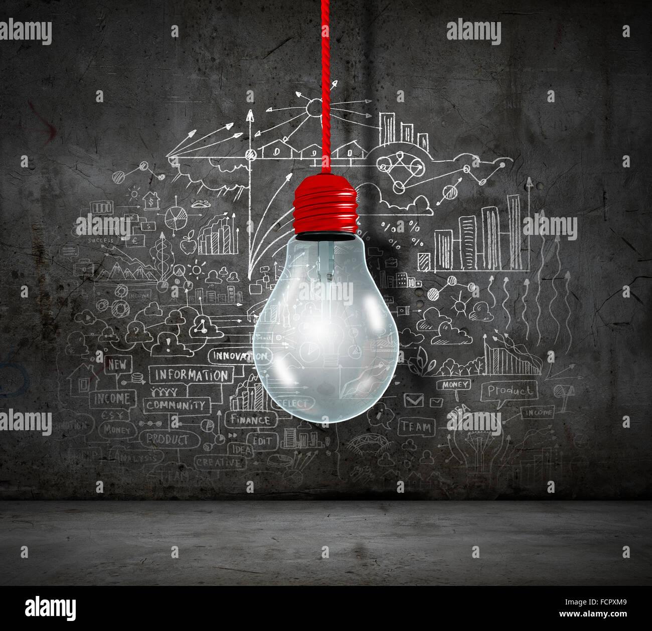 Image conceptuelle de l'ampoule sur le mur avec des croquis d'idées Photo Stock