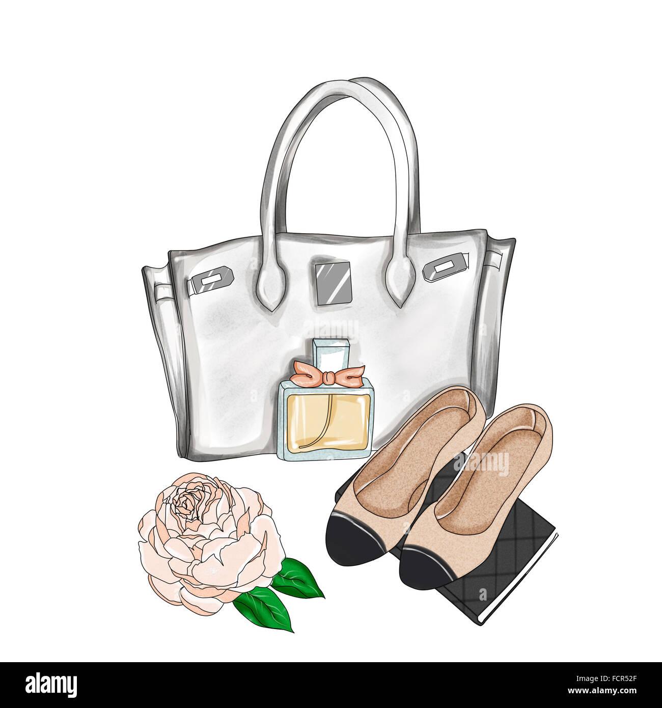 0c56194402 Aquarelle illustration - Illustration de mode - fond raster dessiné à la  main - sac de
