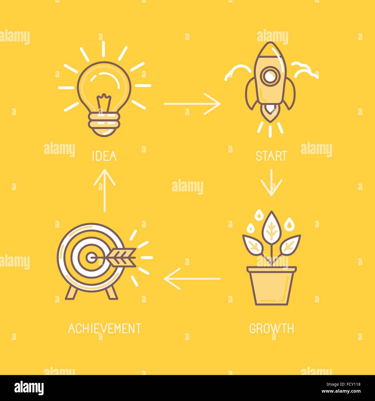 L'élément de conception infographique et concept illustration dans un style linéaire - étapes Photo Stock