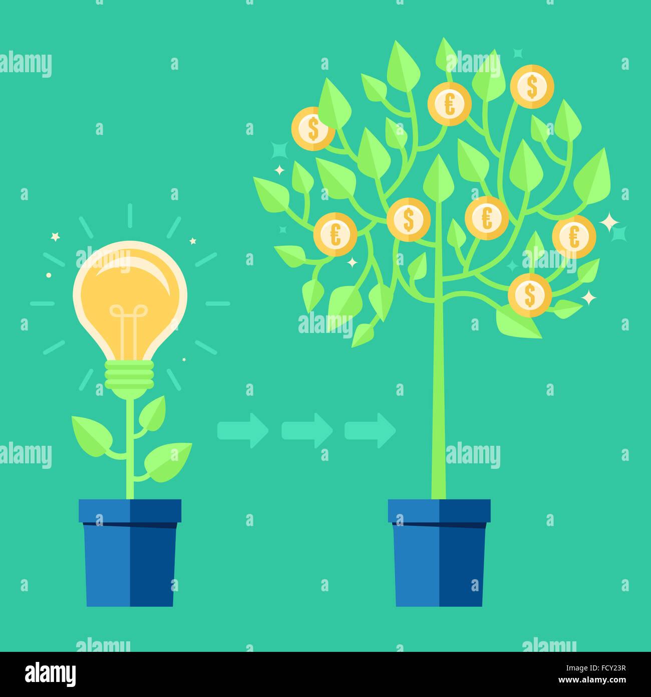 Concept créatif dans télévision - style de plus en plus l'ampoule le pot de fleurs - icône Photo Stock