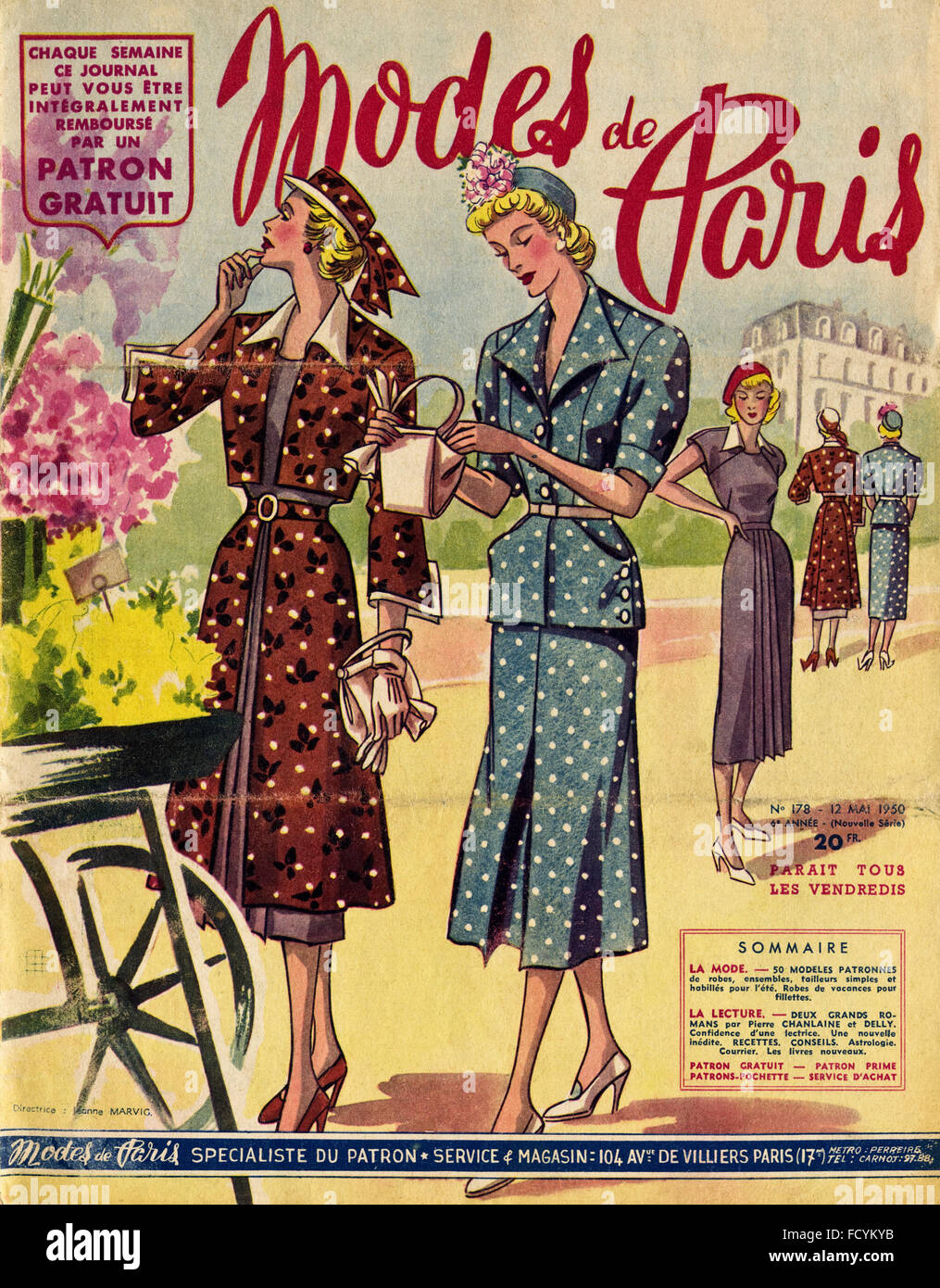 couverture de magazine de mode vintage original modes de paris partir de 1950 en date du 12. Black Bedroom Furniture Sets. Home Design Ideas