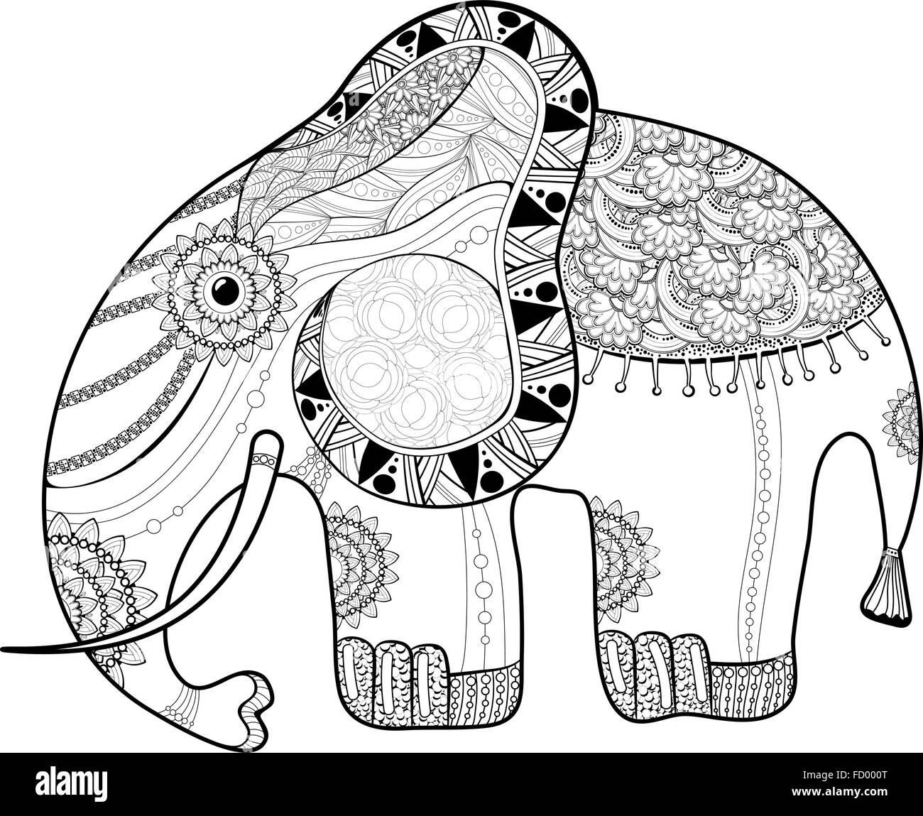 Coloriage Animaux Totem.La Page De Coloriage Pour Adultes Elephant Anti Stress Ethnique De