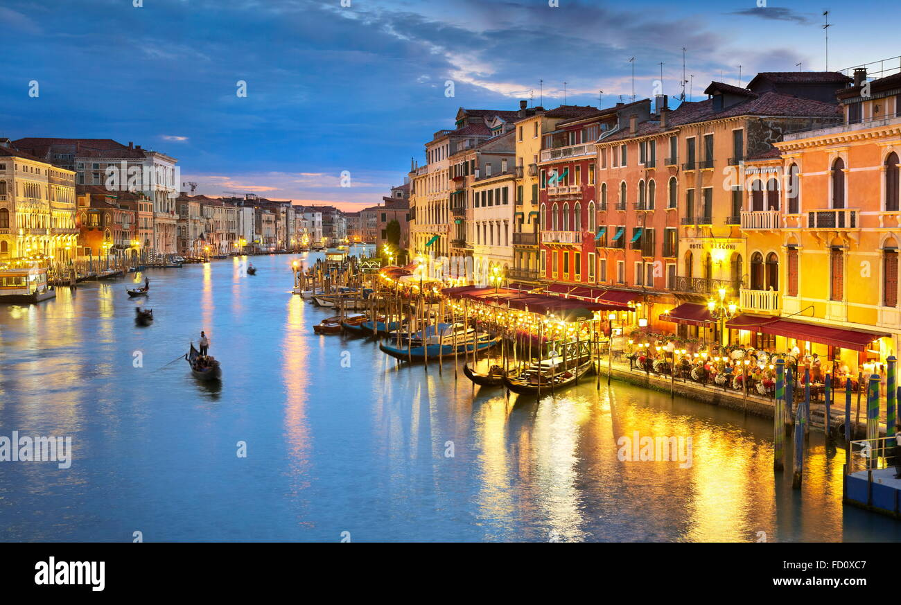 Vue de Venise au soir, Grand Canal, Venise, Italie, l'UNESCO Photo Stock