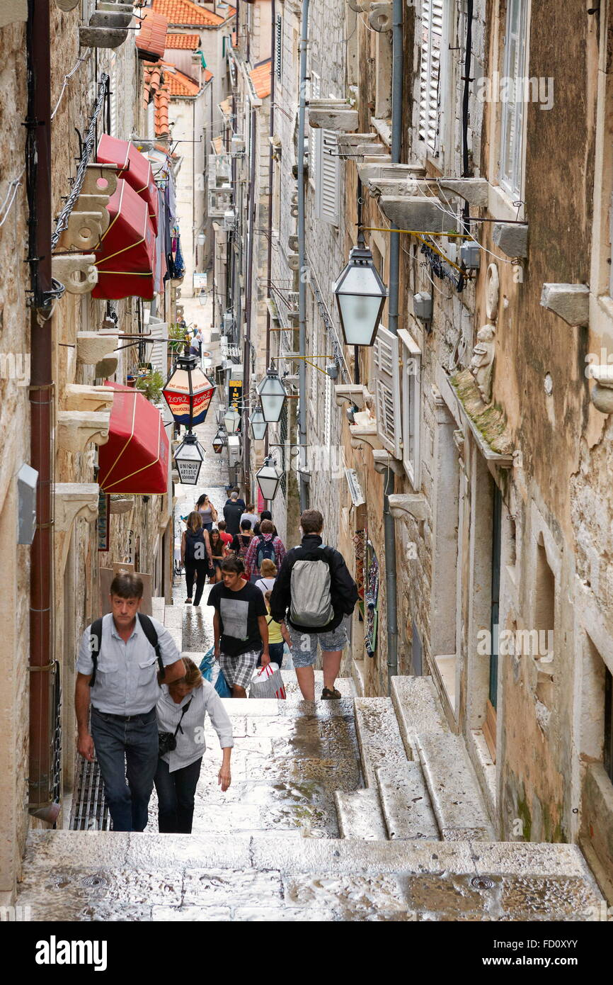Rue de la vieille ville de Dubrovnik, Dalmatie, Croatie Photo Stock
