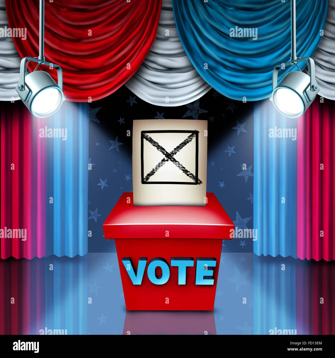 American urne élection concept avec rouge blanc et bleu du drapeau des États-Unis rideaux de couleur comme Photo Stock