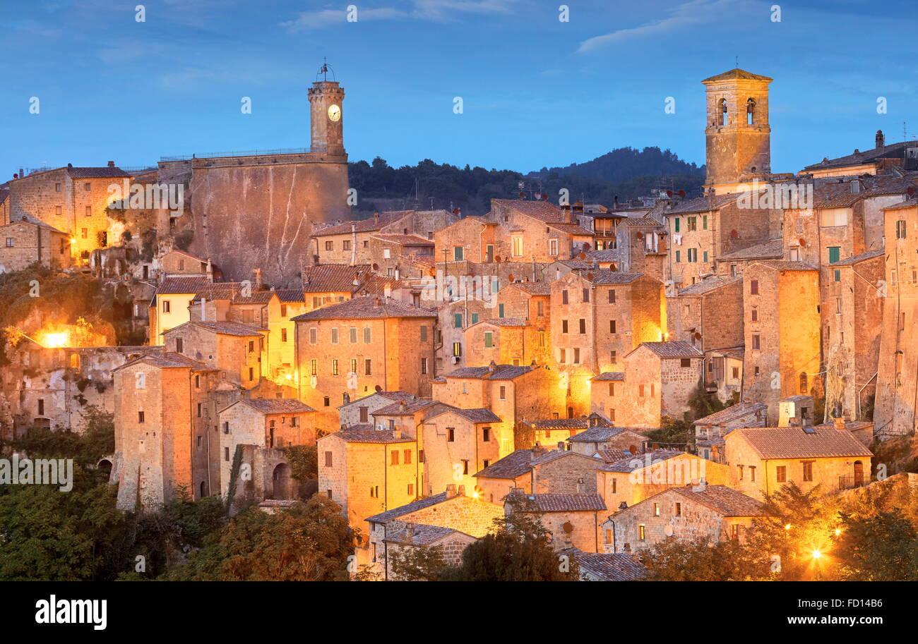 Soir voir l'ot Sorano, Toscane, Italie Banque D'Images