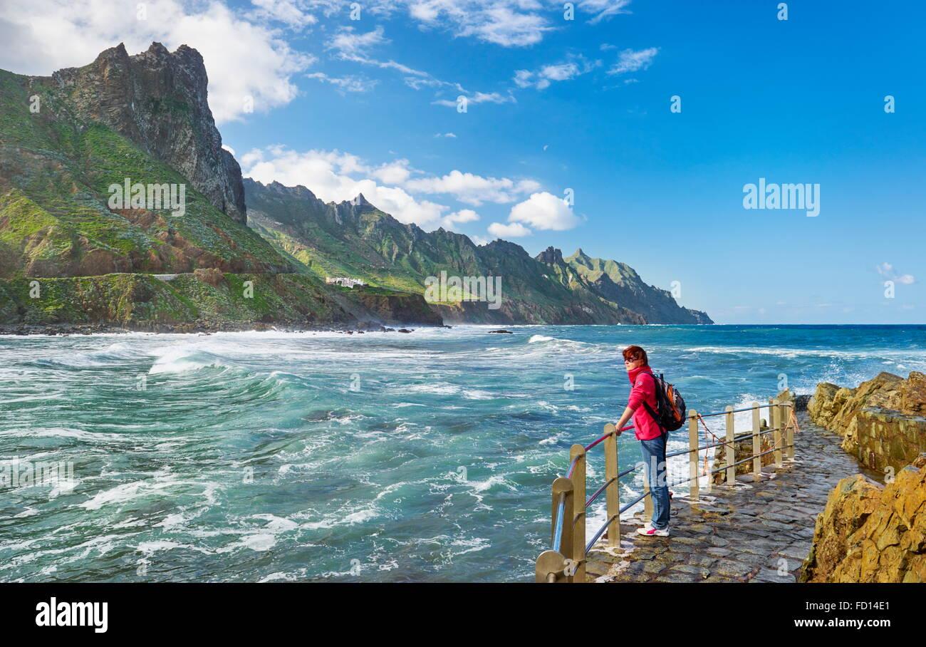 L'almaciga, Côte Taganana, Tenerife, Canaries, Espagne Photo Stock