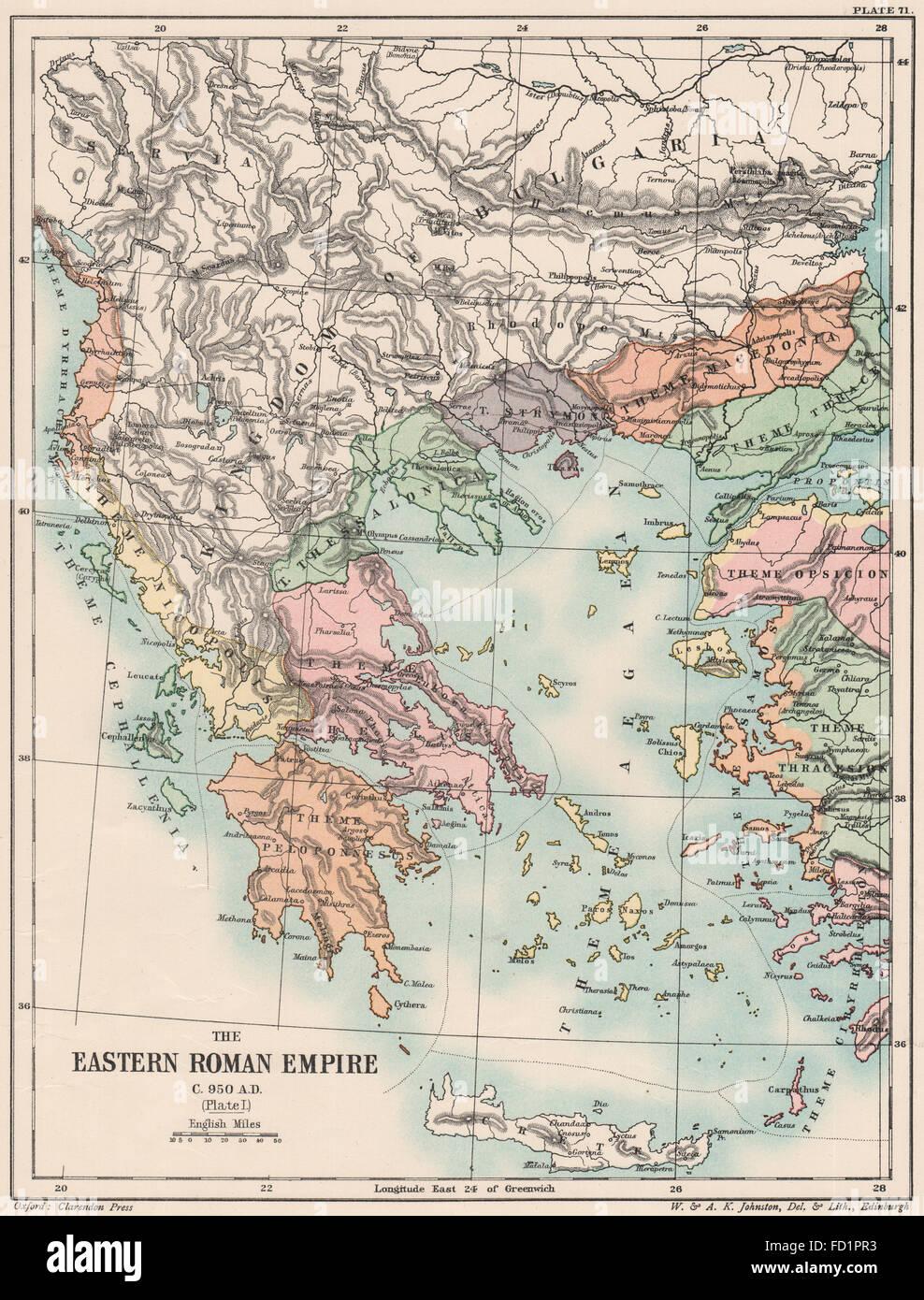 C'est de l'EMPIRE ROMAIN950 Annonce: Empire Byzantin. I. La plaque de la Grèce. Carte 1902 Egée Photo Stock
