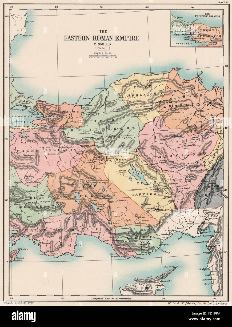 C'est de l'EMPIRE ROMAIN950 AD:Empire Byzantin.Planche 2.L'Asie mineure, la Turquie carte 1902 Photo Stock