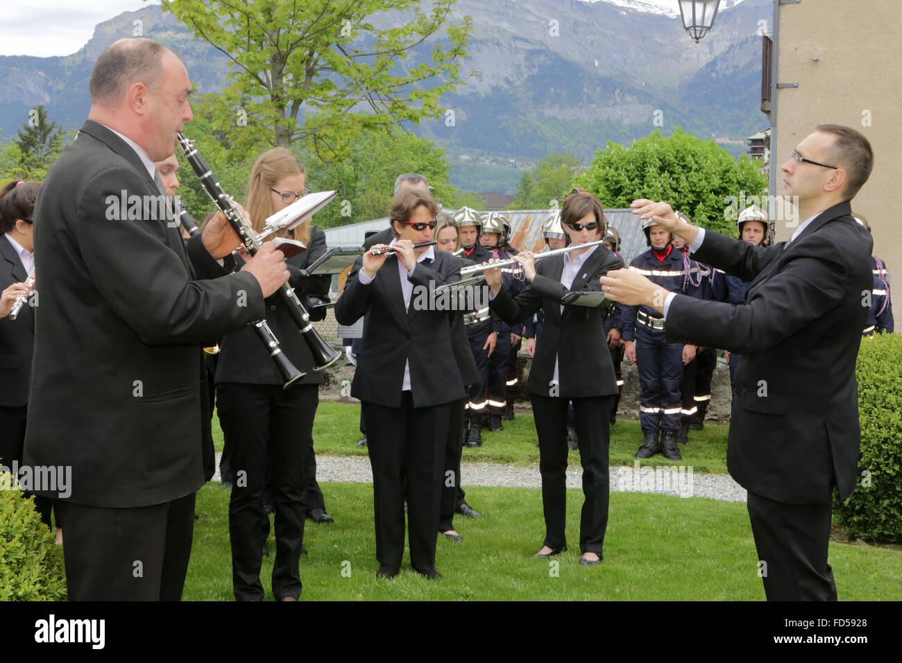 L'harmonie de St Gervais. Marching Band. Photo Stock