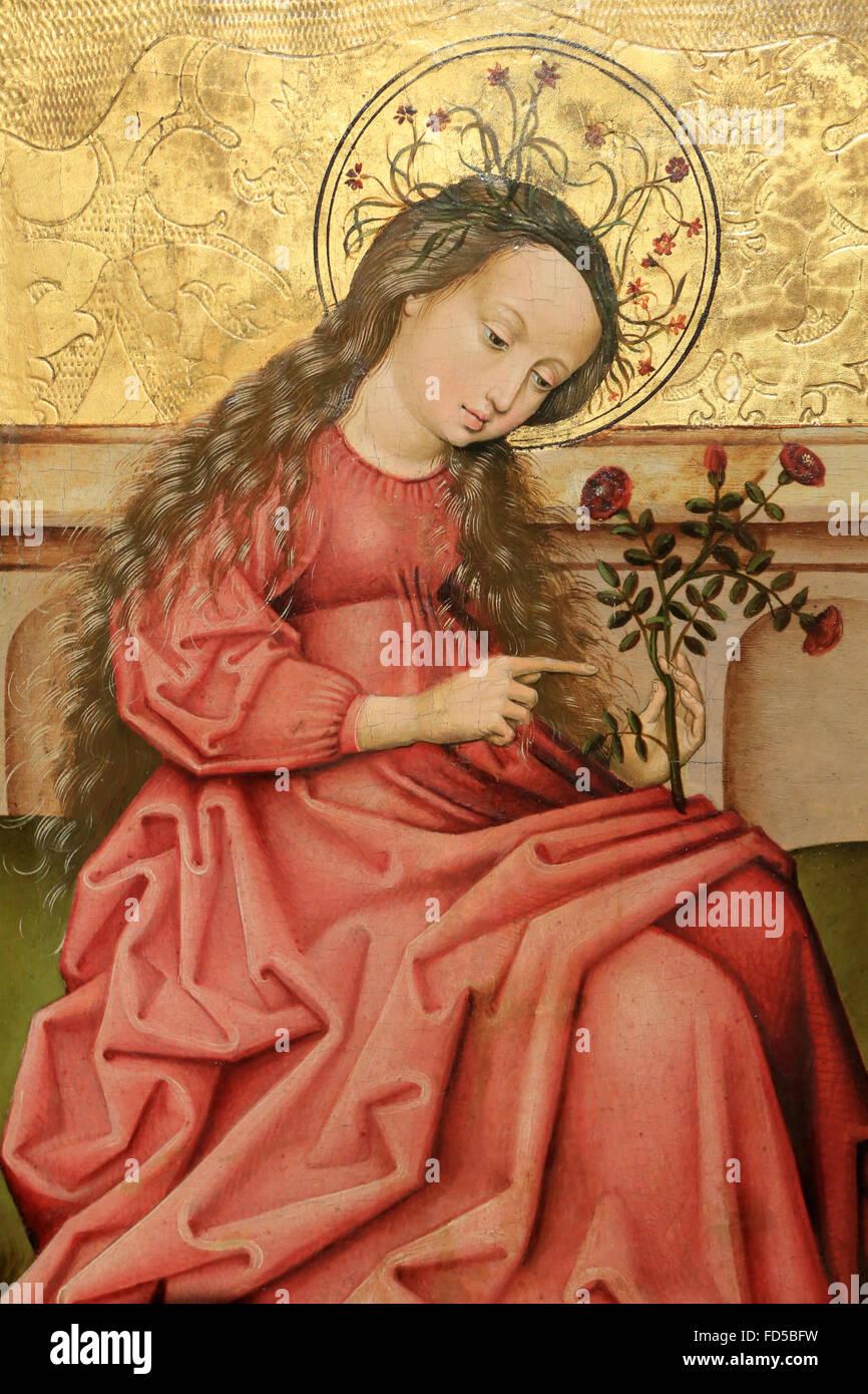 Madonna le jardin ou Sainte-DorothŽe. Maître rhénan anonyme, xvie siècle. Autour de 1460-1470. Huile Photo Stock