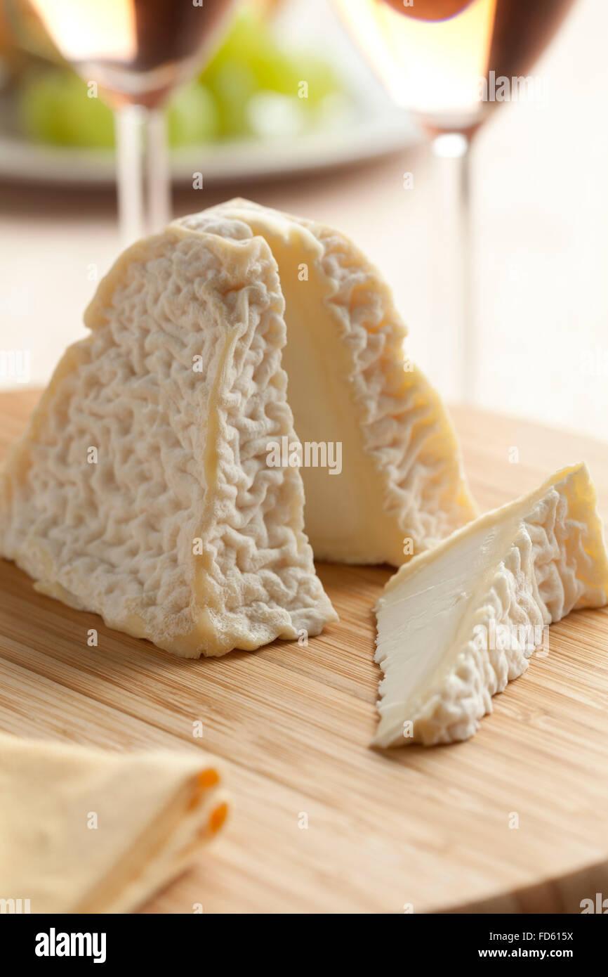 Fromage frais Pouligny Saint-pierre pour le dessert Photo Stock