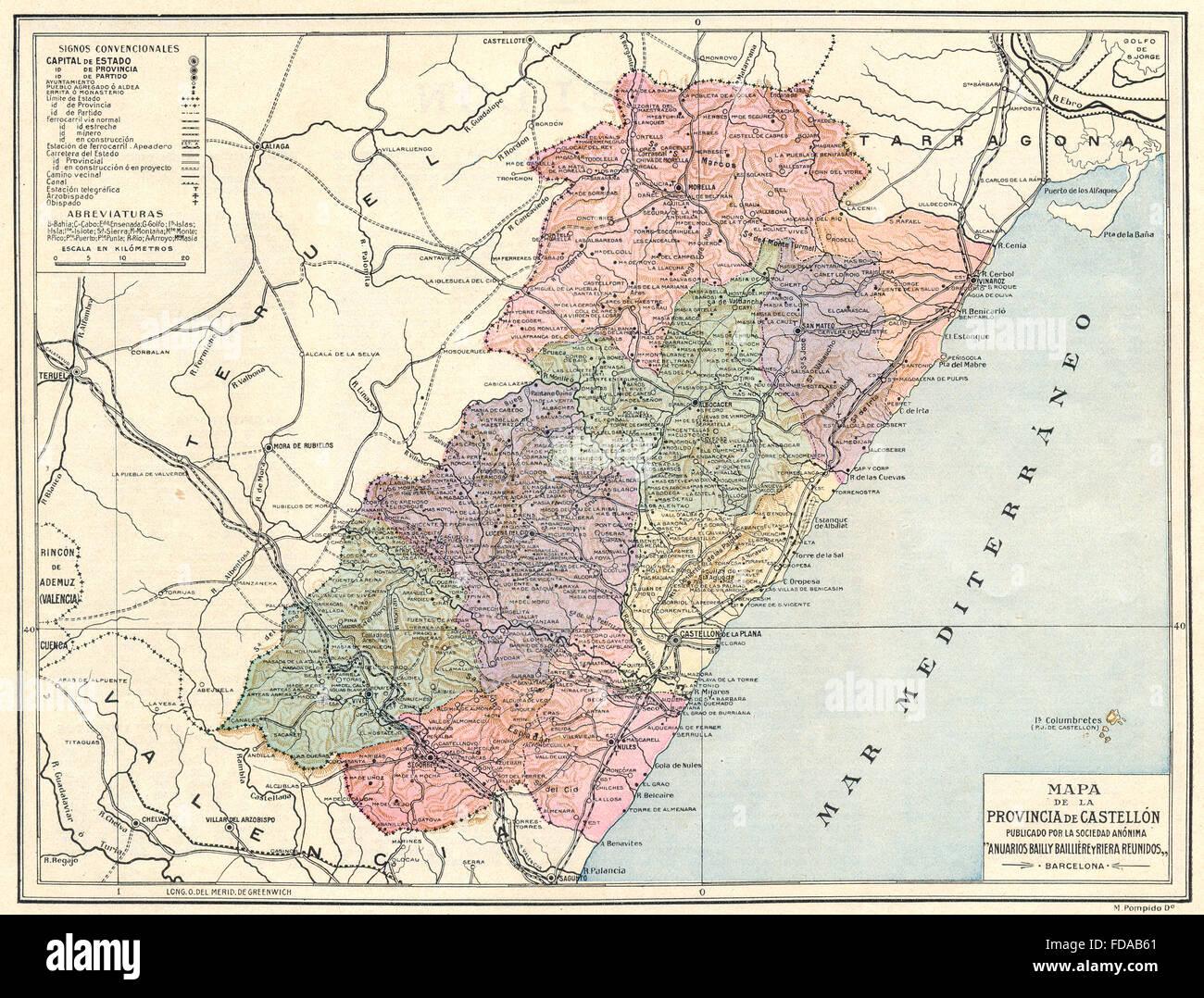 Espagne Mapa De La Provincia De Castellon 1913 Banque D Images