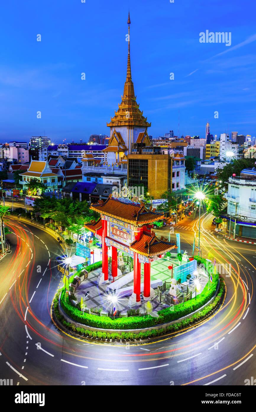 BANGKOK, THAÏLANDE. 17 janvier, 2016. Gateway Arch (Odeon Circle), China town. Photo Stock