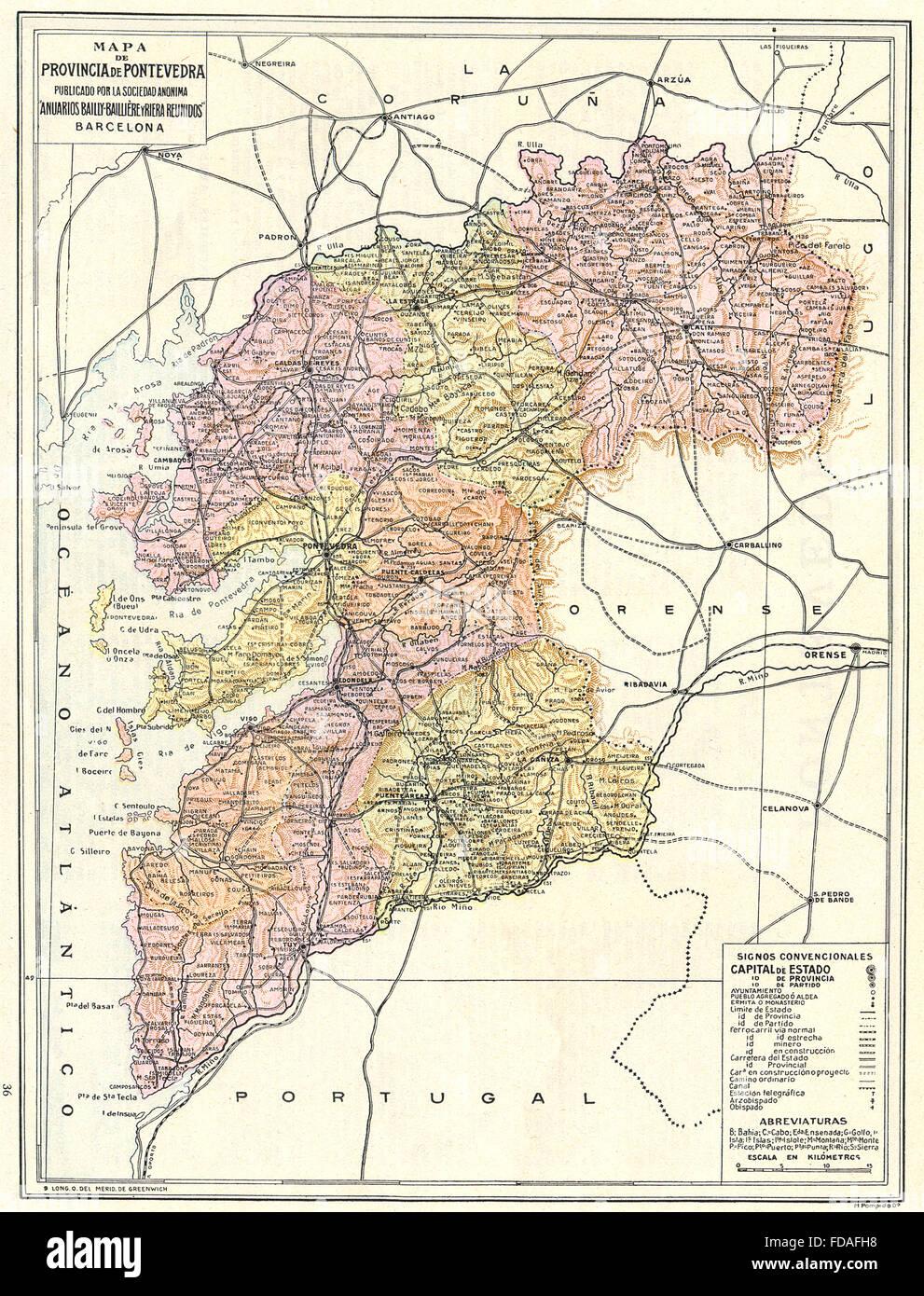 Mapa De Pontevedra Provincia.Espagne Mapa De La Provincia De Pontevedra 1913 Banque D