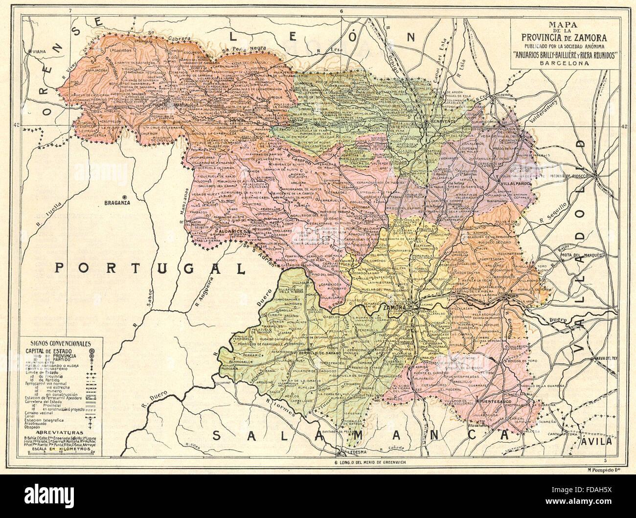 Mapa De Zamora Provincia.Espagne Mapa De La Provincia De Zamora 1913 Banque D
