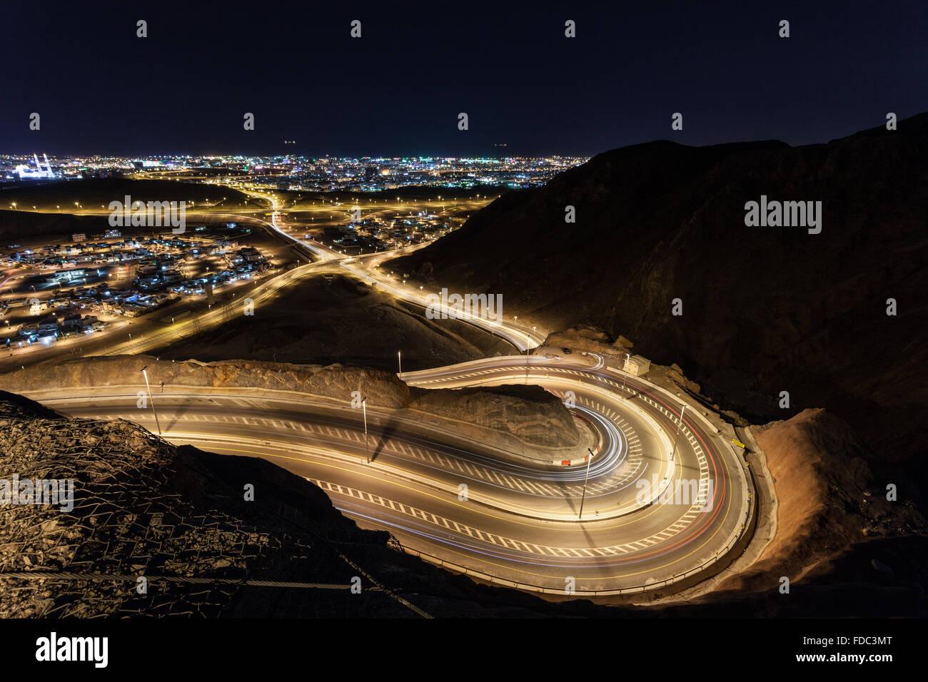 Route sinueuse à Muscat, Oman Photo Stock