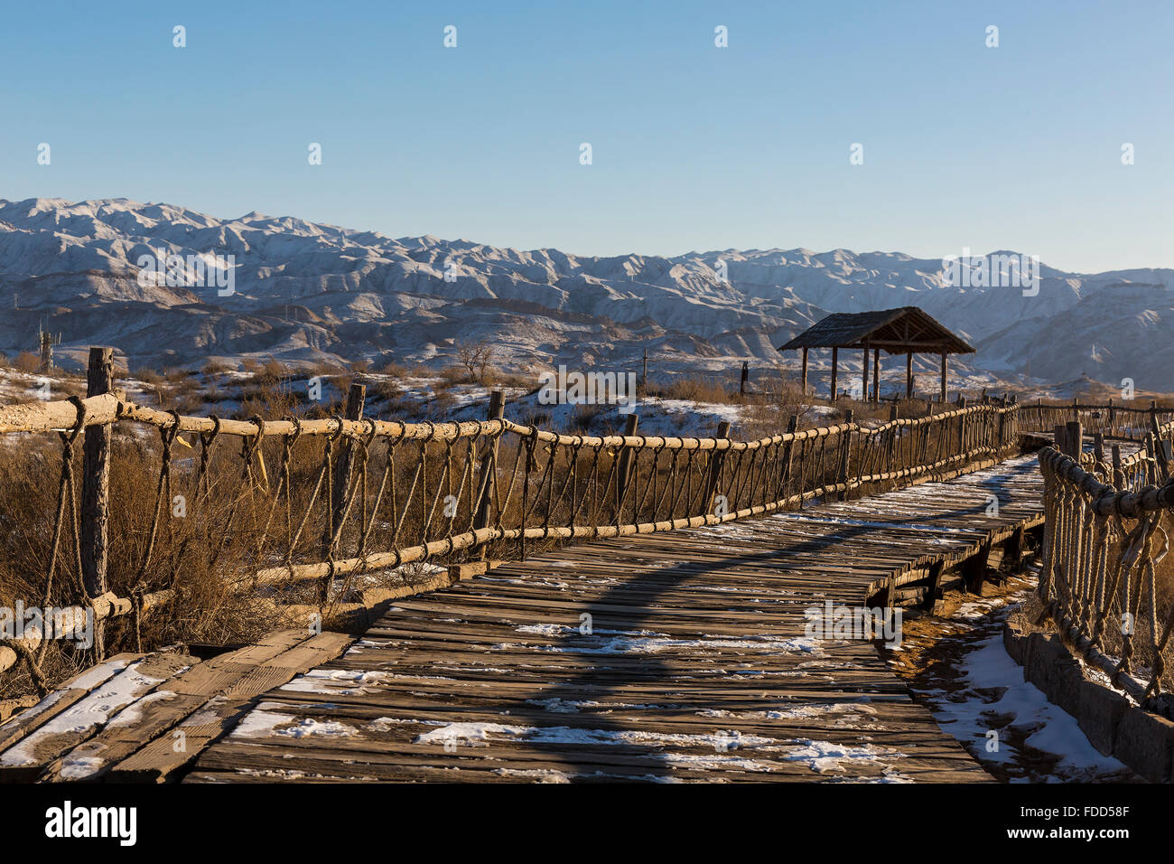 Chemin de randonnée au Parc National de Shapotou - Ningxia, Chine Banque D'Images