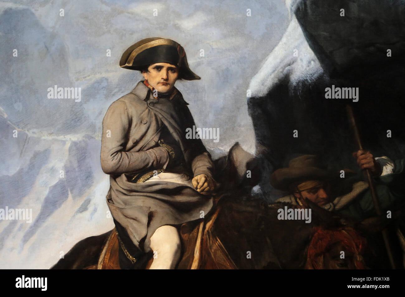 Napoléon Bonaparte (1769-1821). Bonaparte franchissant les Alpes, 1850. Par Paul Delaroche (1797-1856). Route Photo Stock