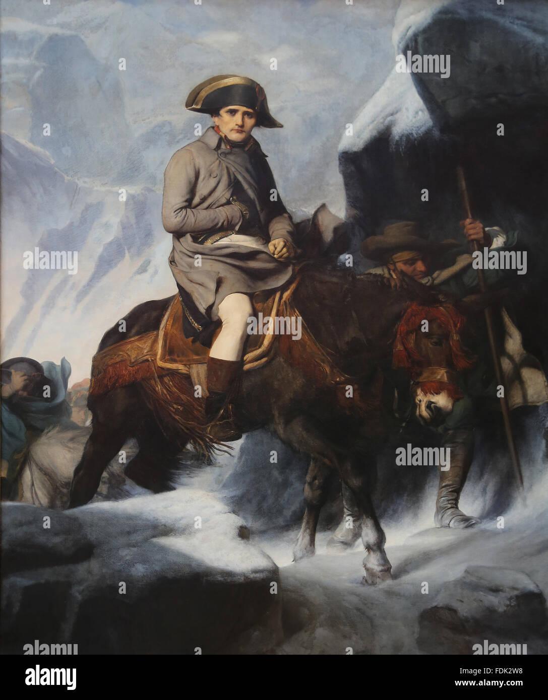 Napoléon Bonaparte (1769-1821). Bonaparte franchissant les Alpes, 1850. Par Paul Delaroche (1797-1856). Musée Photo Stock