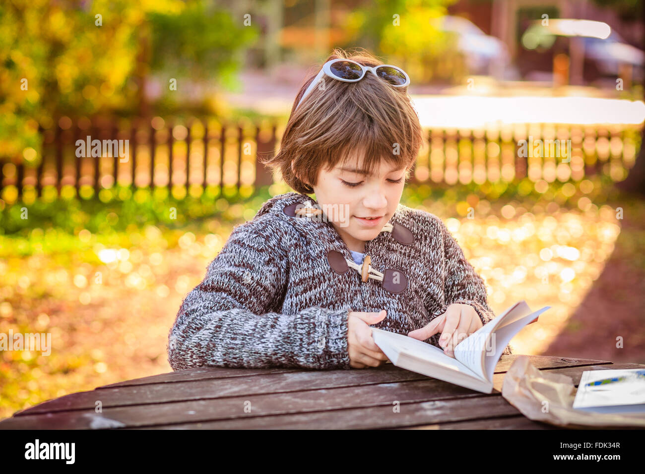 Boy reading a book in the park Banque D'Images