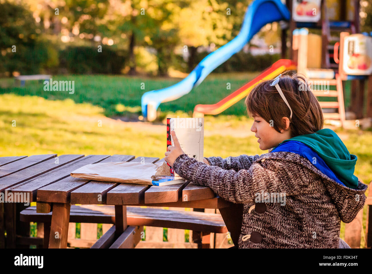 Boy reading a book in a park Banque D'Images