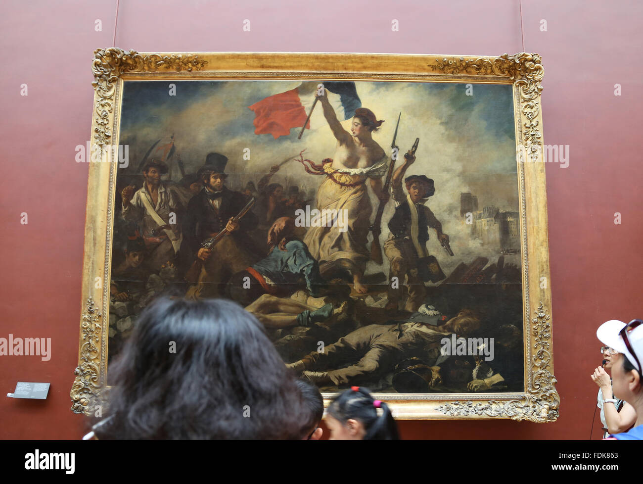 L'intérieur Tourisme Musée du Louvre. La liberté guidant le peuple, 1831. Par Eugène Delacroix. Photo Stock