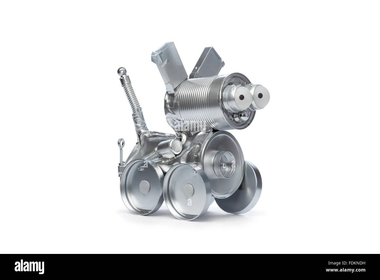 Chien robot d'étain sur fond blanc Banque D'Images