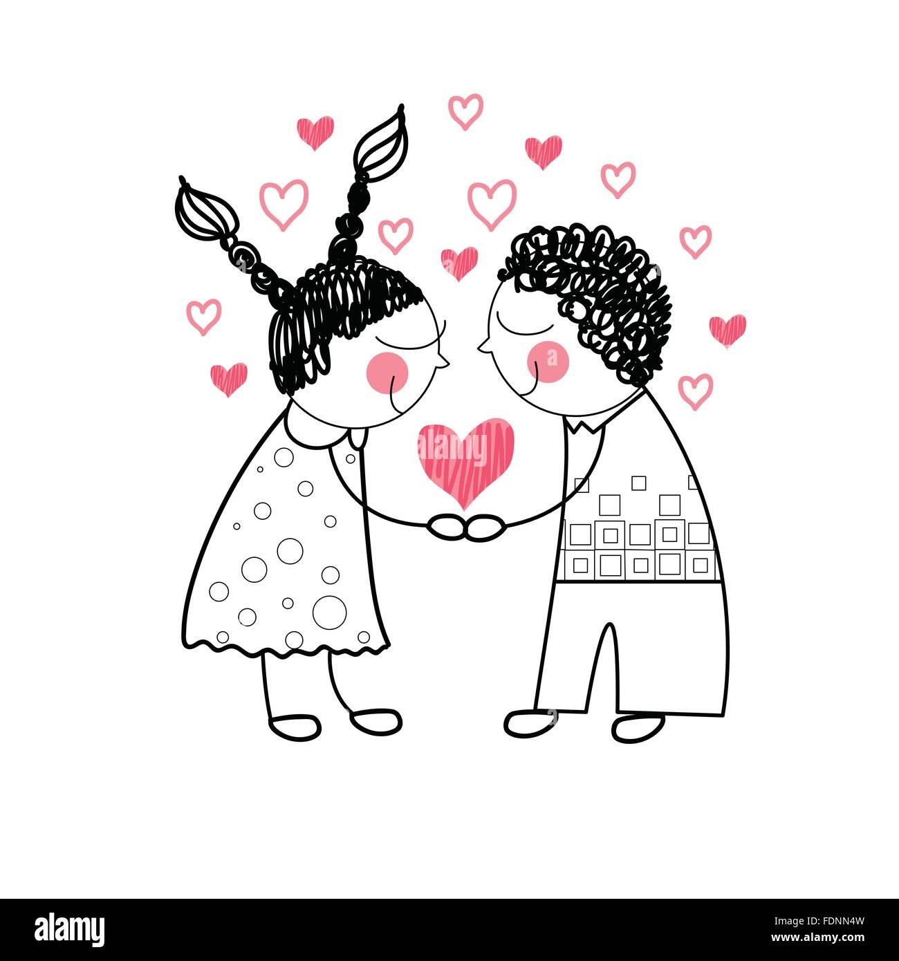 Forme De Coeur Rouge Amour Couple Holding Hands Ligne Simple Dessin