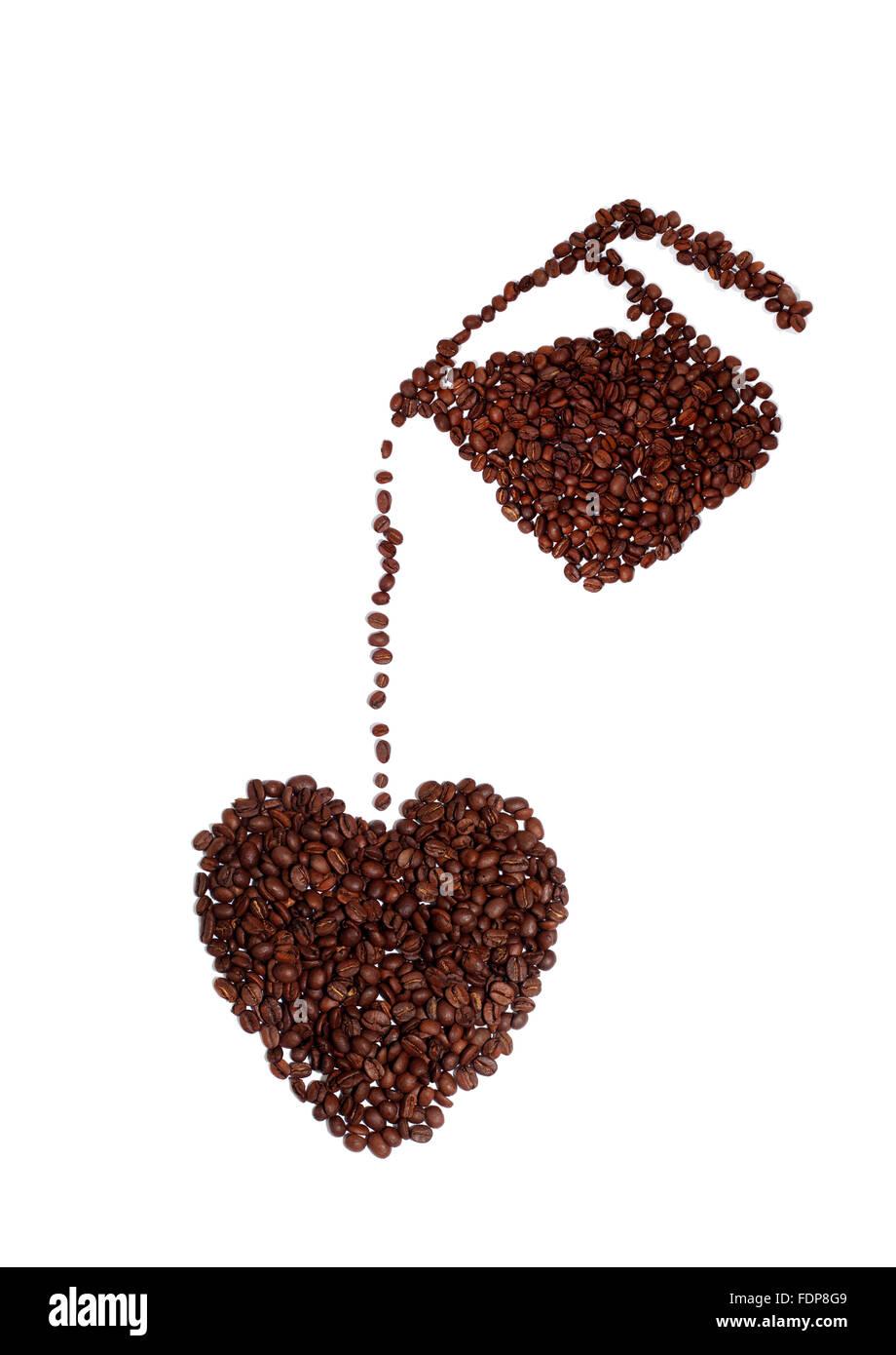 Portrait d'un amoureux de café's coeur fait de grains de café Photo Stock
