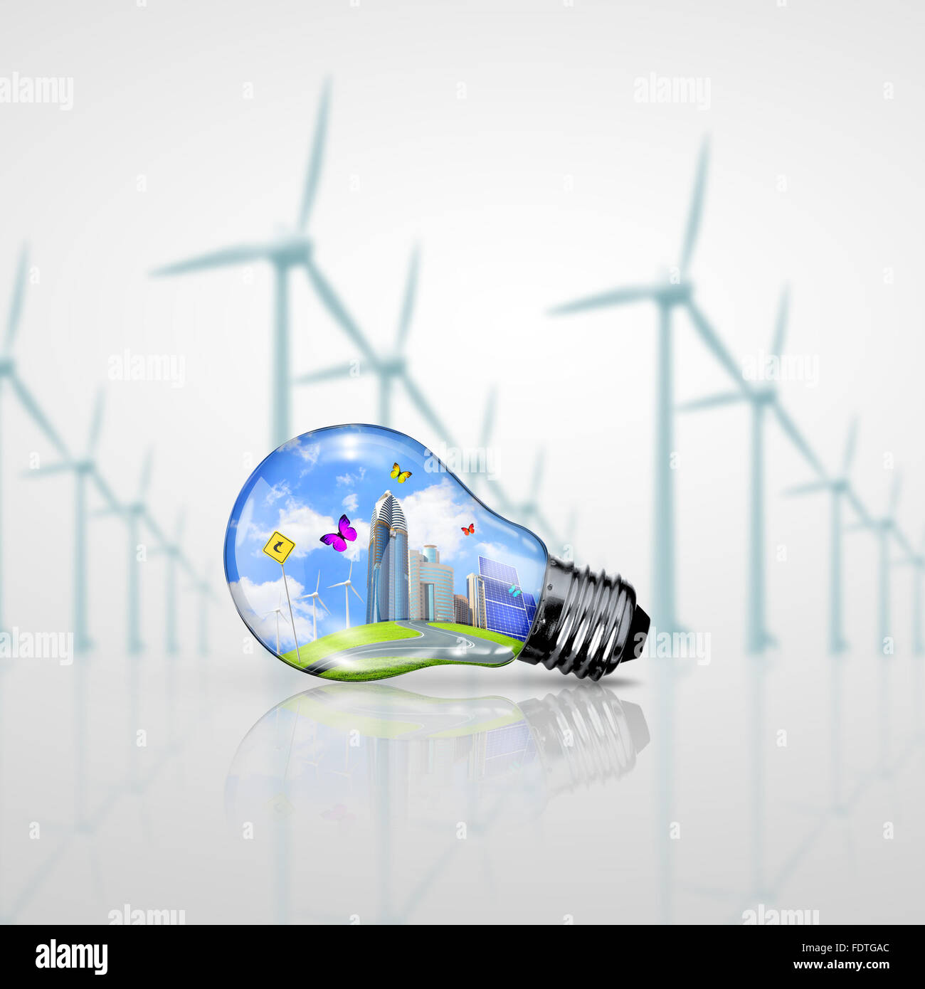 Symboles de l'énergie verte, l'écologie, concept Light bulb Photo Stock