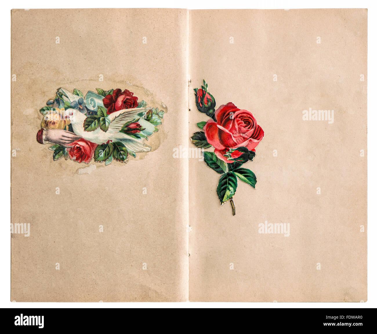 Vintage scrapbook paper page avec photos isolé sur fond blanc Photo Stock