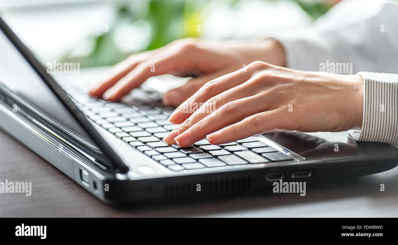 Female office worker typing sur le clavier Photo Stock