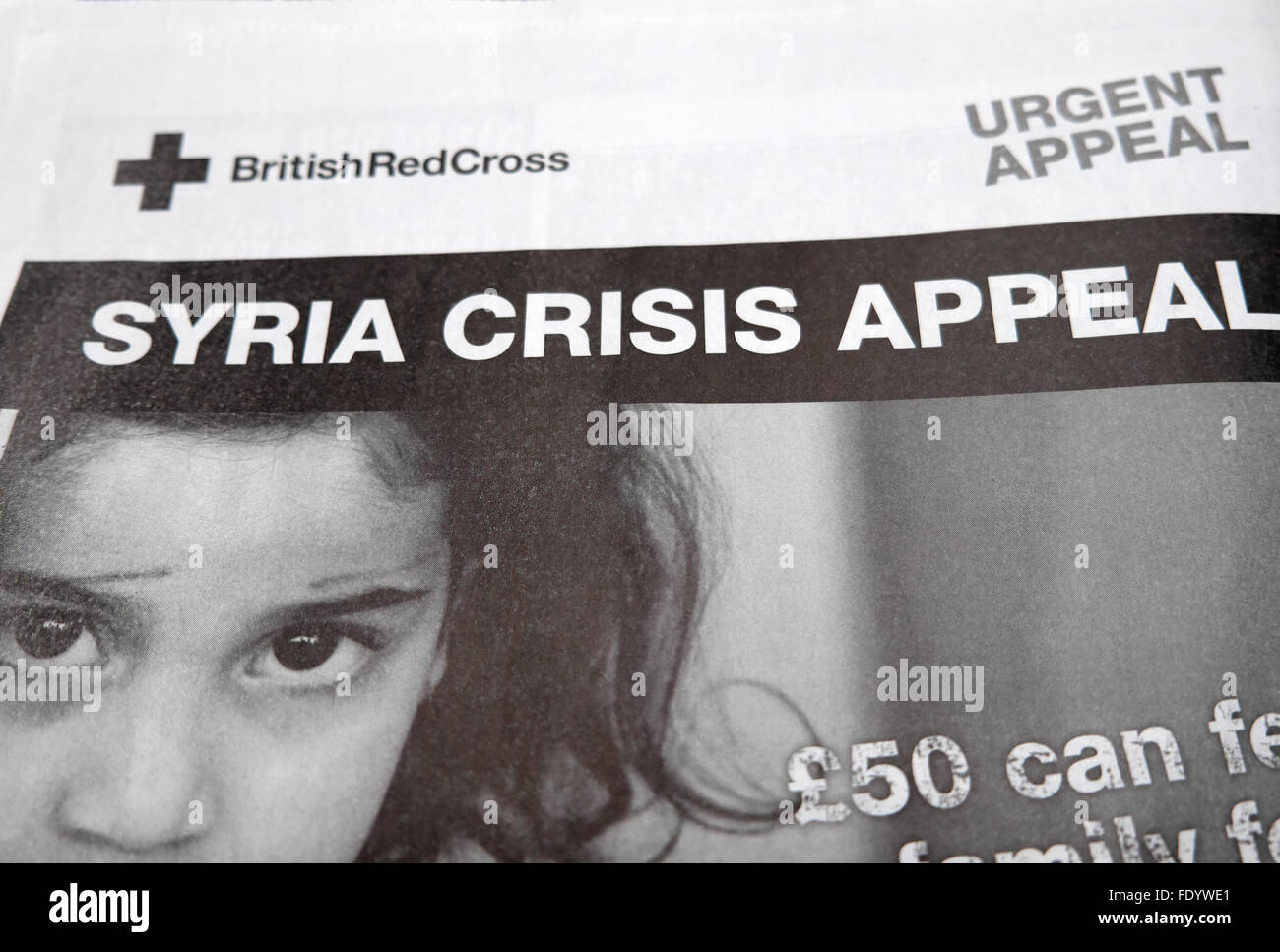 Gros titre de journal La Croix Rouge Britannique Crise en Syrie appel en janvier 2016 London UK Photo Stock