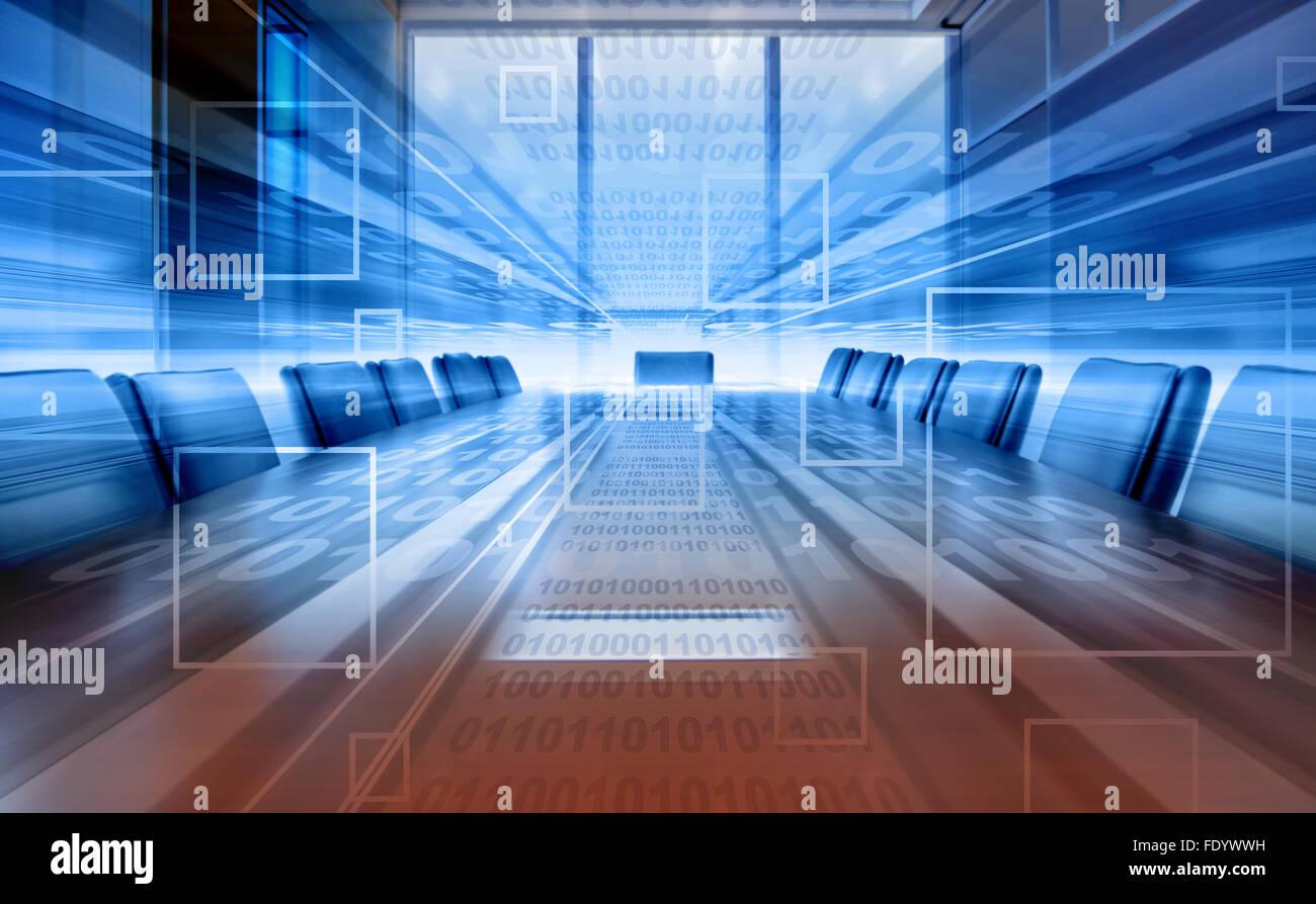 Digital projection de salle de réunion, bureau moderne Photo Stock