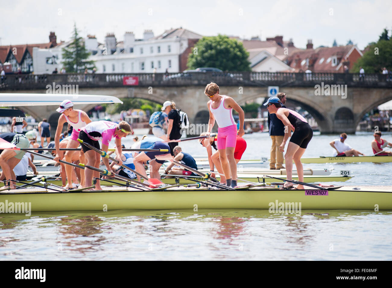 Les rameurs à Henley Regatta 2015 Photo Stock