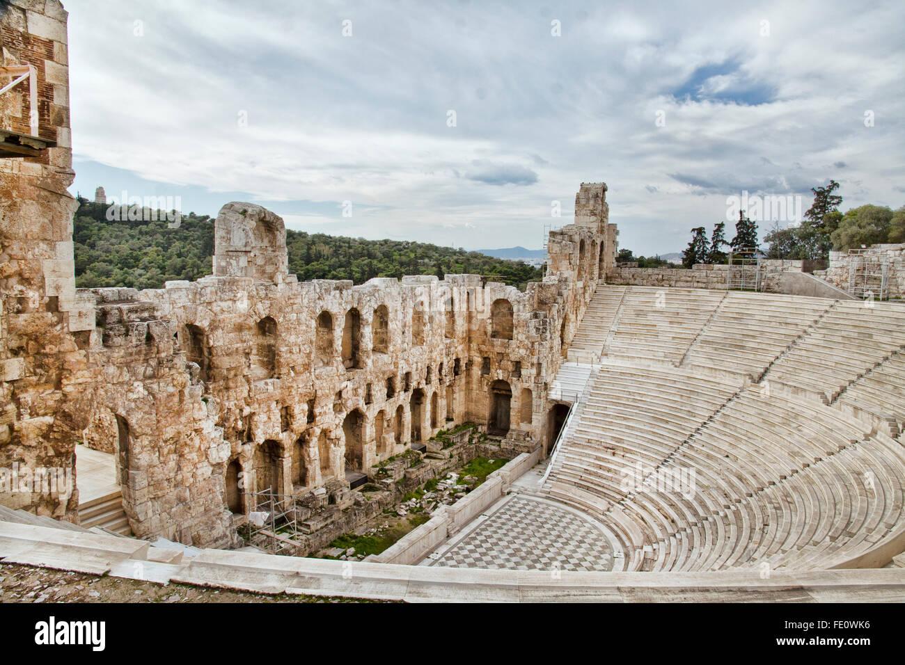 Vestiges d'odéon d'Hérode Atticus, près de l'acropole d'Athènes. Photo Stock