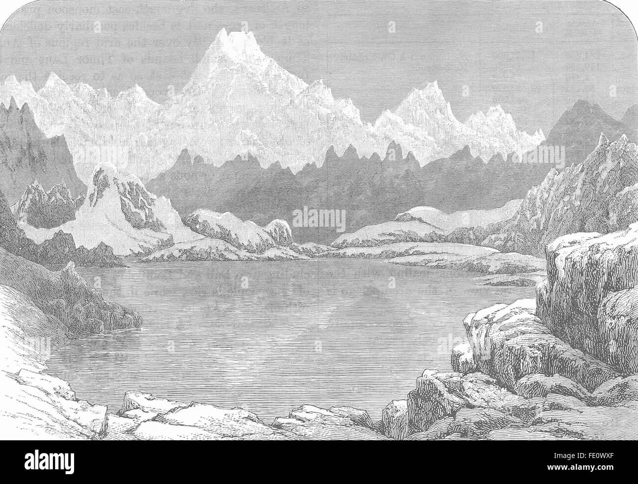 Le Sikkim: Lake & Chola Pass, Himalaya. Kanchanjunga. Chho Lhamo Tso/Cholamu, 1893 Photo Stock