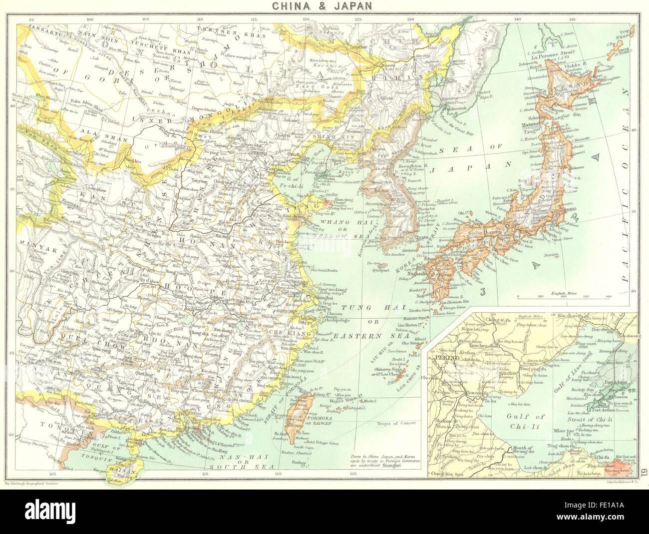 Carte Chine Antique.Chine Le Japon Golfe Du Chi Li 1900 Carte Antique