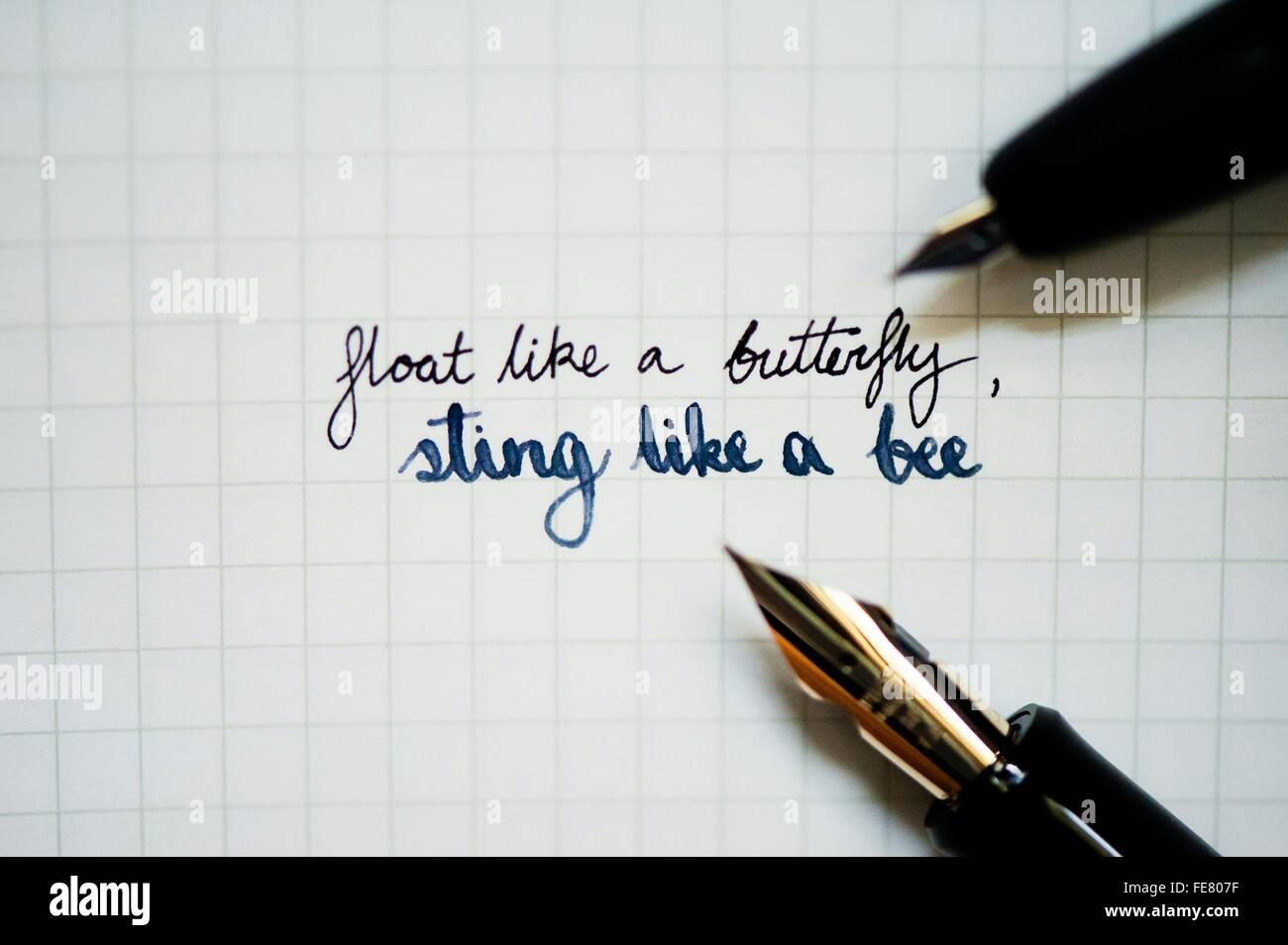 Paroles inspirantes sur du papier blanc avec stylo plume Photo Stock