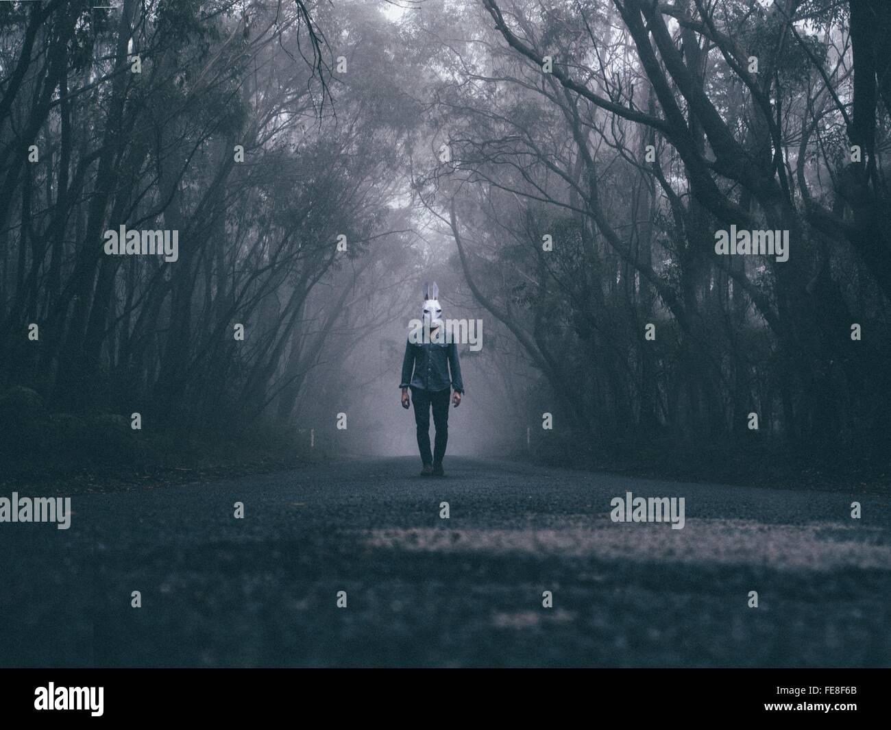 Homme portant un masque de lapin sur route forestière Photo Stock