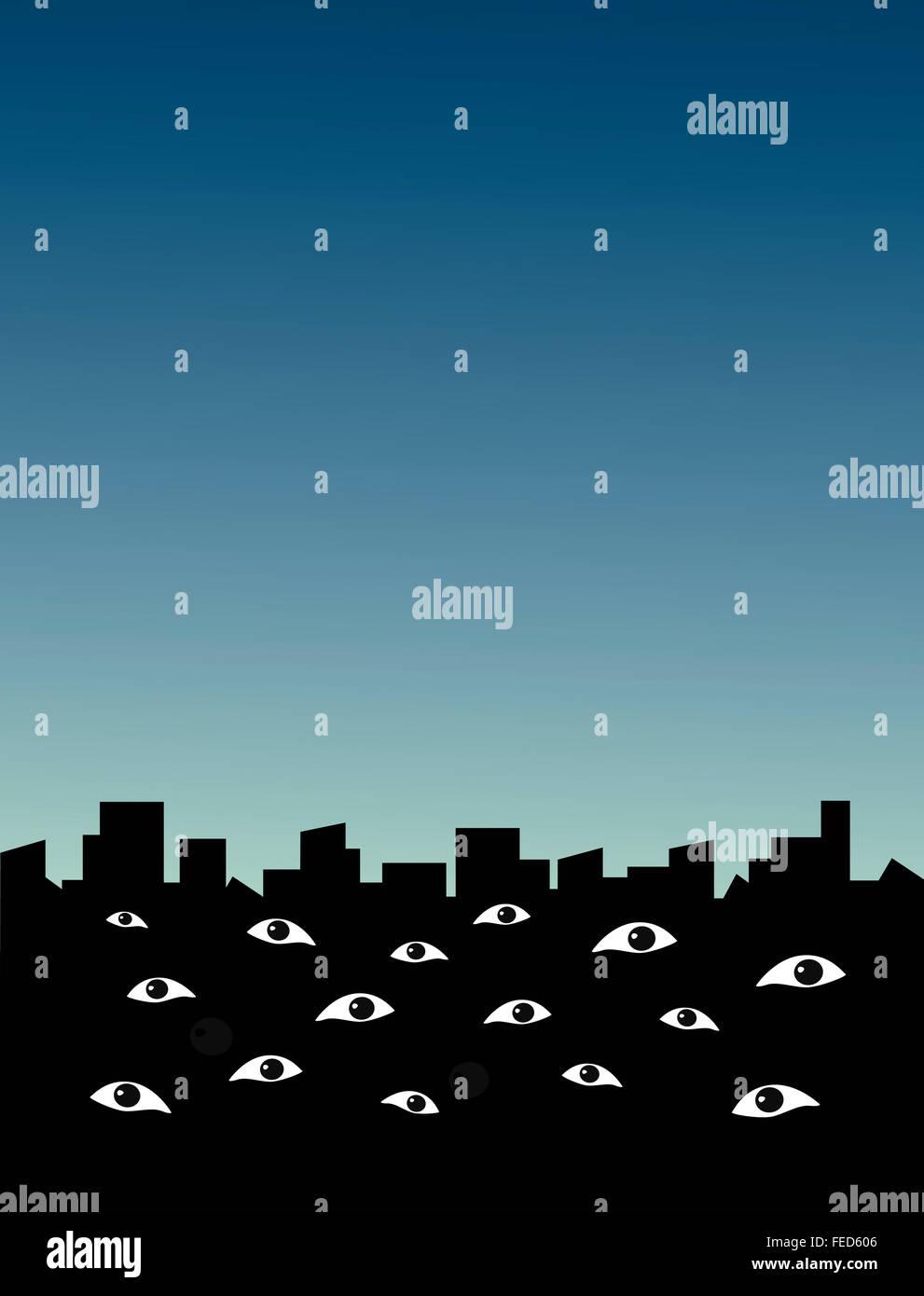 Silhouette d'une ville où la surveillance des yeux viewer. Rues de la région de surveillance. Banque D'Images