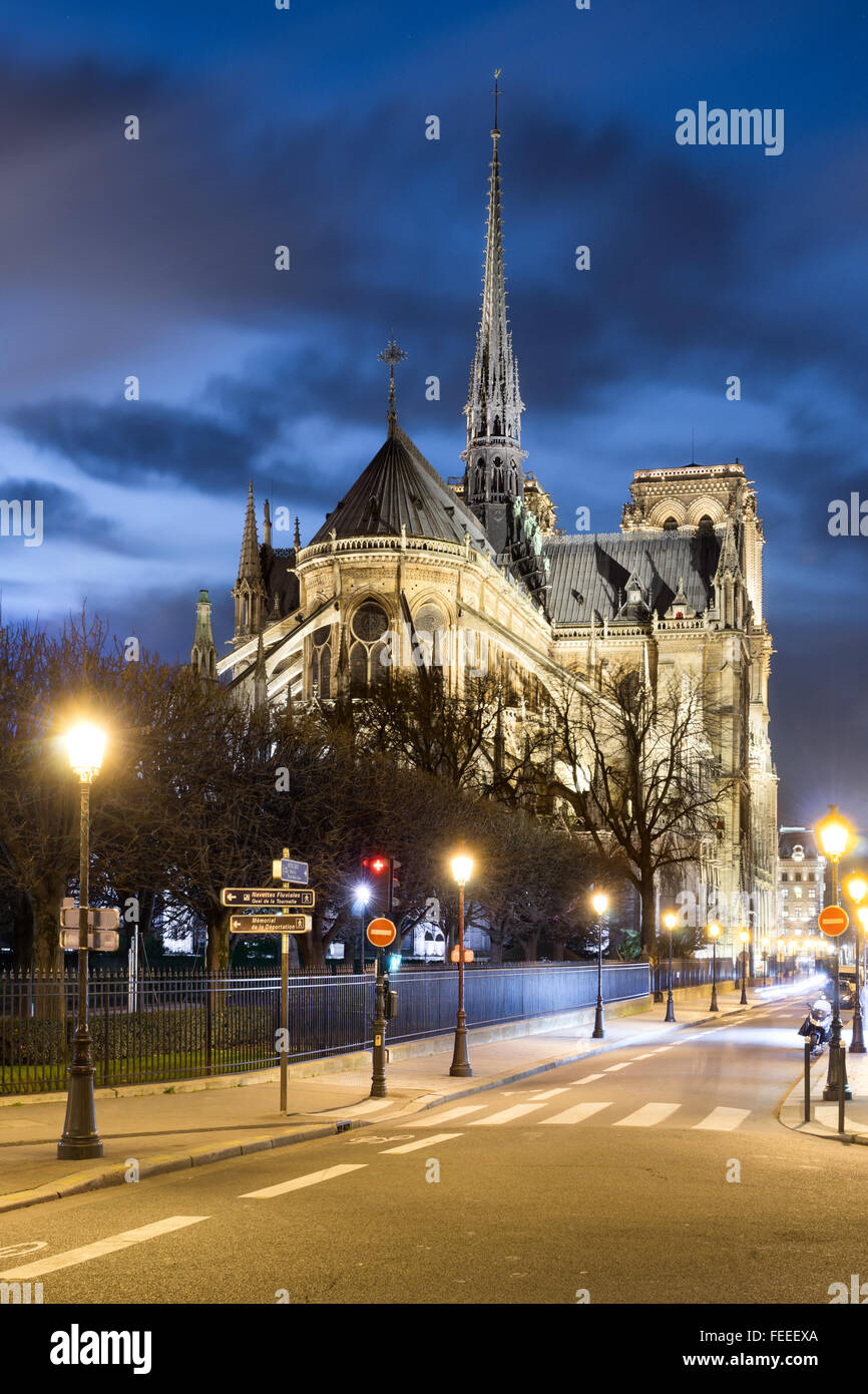 Notre-Dame de Paris la nuit Photo Stock