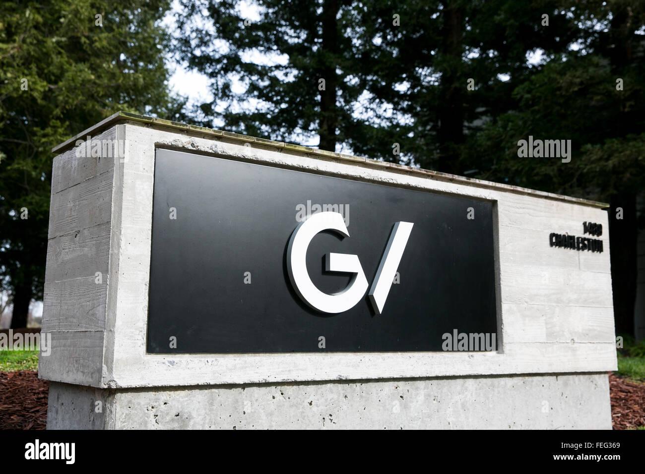 Un logo affiche à l'extérieur du siège de GV, également connu sous le nom de Google Ventures Photo Stock