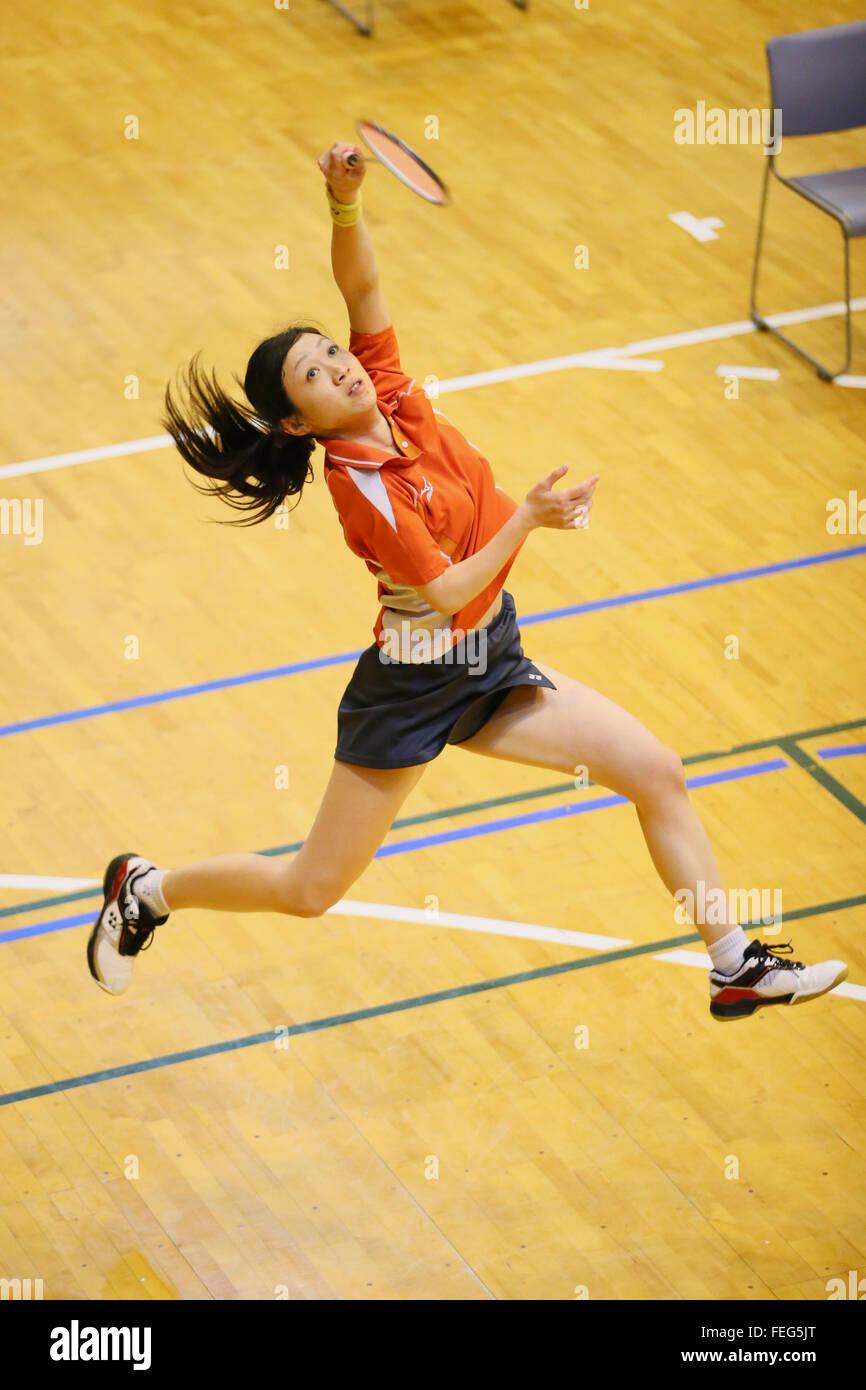 Gymnase de l'ouest de la ville de Kurume, Fukuoka, Japon. Feb 6, 2016. Ayako Suzuki, 6 février 2016 - Badminton: Photo Stock