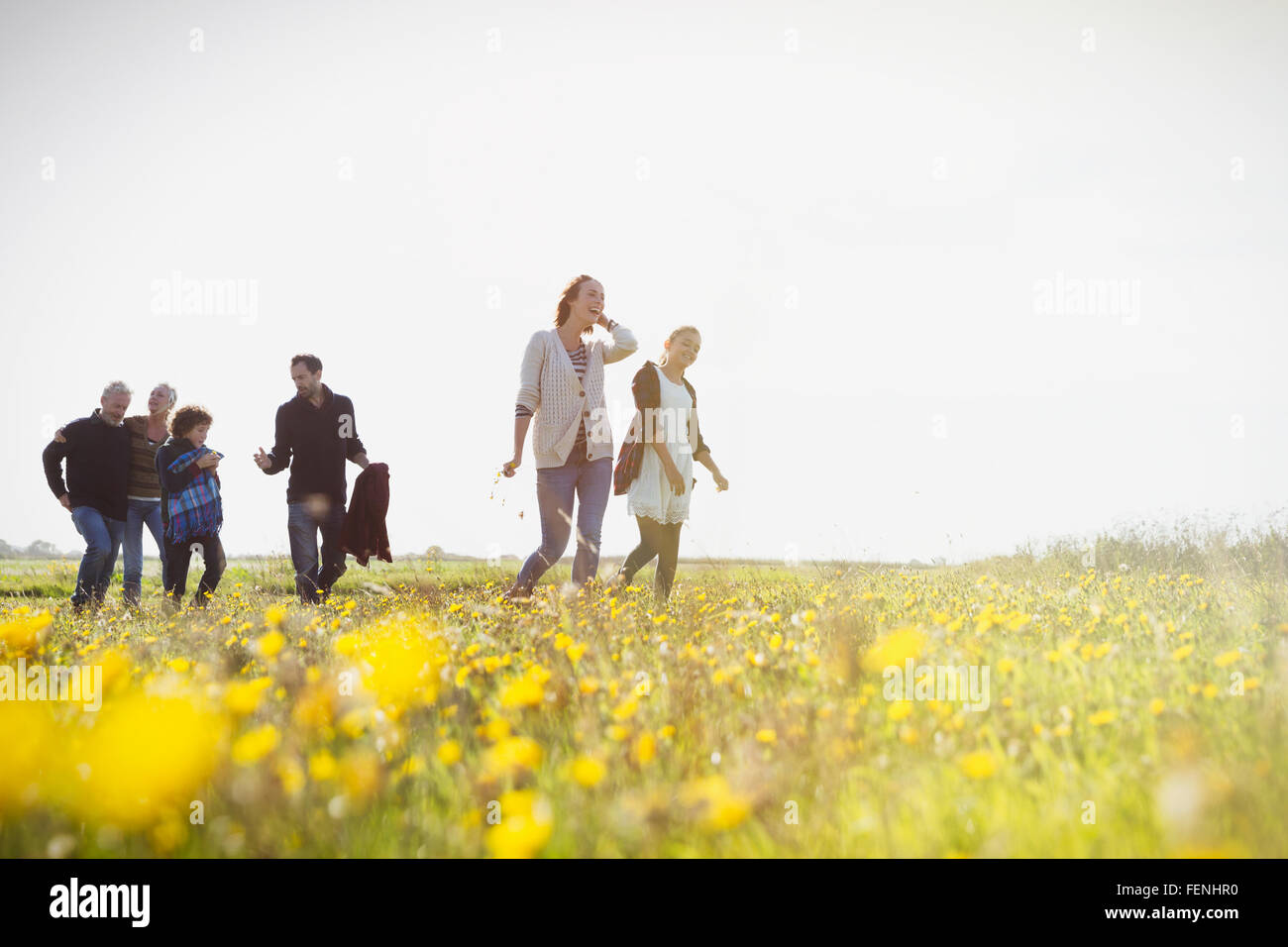 Multi-generation family walking in sunny prairie avec des fleurs sauvages Photo Stock