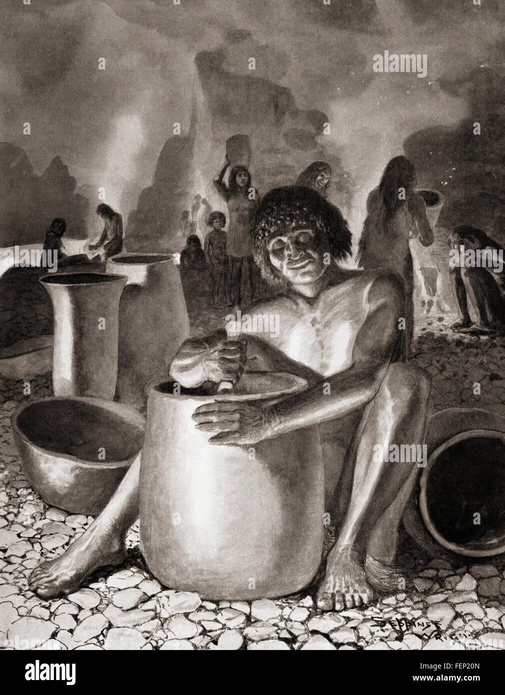 Début égyptiens la poterie. Photo Stock